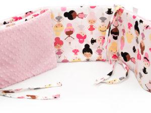 Ochraniacz do łóżeczka 182 x 25 cm Minky różowy JUST DANCE 2