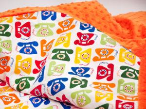 Kocyk PHONE pomarańczowe Minky 80 x 100 cm 2