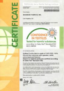 Minky Shannon Fabrics - Certyfikat Oeko-Tex Standard 100